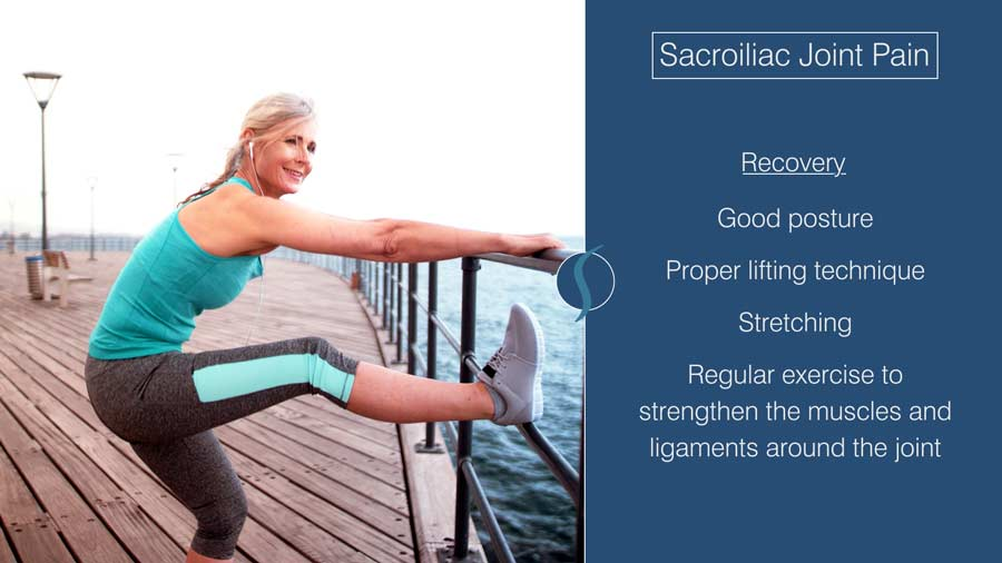 treatment for SI joint pain includes physical therapy, at-home exercises, and over the counter medication